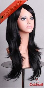 * Katlı Kesim Genç Uzun Suni Saç Peruk Siyah
