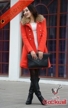 * kürk yaka japon palto kaban turuncu L - İNDİRİM ÖZEL