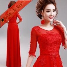 * Tül & Dantel Japon Uzun Abiye Elbise Kırmızı S-Xxl