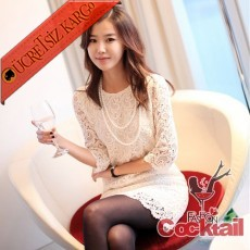 * japon ROMANTİK dantel elbise beyaz S M L