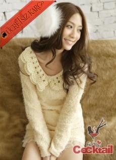 * KAWAI japon SOFT tunik elbise beyaz