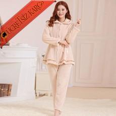 * Peluş Japon Soft Pijama Takım Bej Bedenli