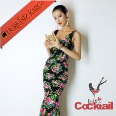 * Çiçekli Japon Kolsuz Abiye Balık Elbise S-L