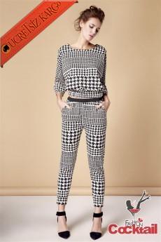 * Büyük & Küçük Kareler Japon Bluz Pantolon Takım