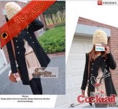 * japon ÇİÇEK YAKA palto mont siyah S