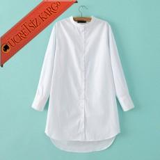 * Asimetrik Etek Japon Düğmeli Gömlek Beyaz S-L