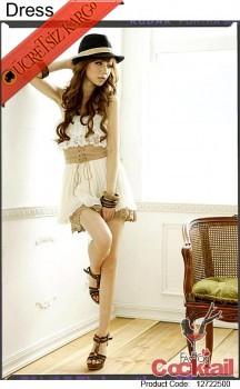 * TEKSAS japon abiye mini beyaz elbise KEMERLİ