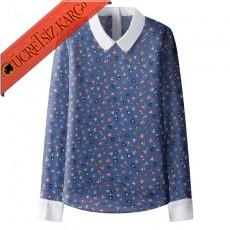 * Minik Üçgen Japon Uzun Kol Gömlek S-Xl Mavi