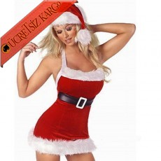 * Askılı Kadife Noel Anne Sexy Fantezi Kostüm