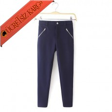 * Asimetrik Fermuar Japon Genç Pantolon S-L Mavi