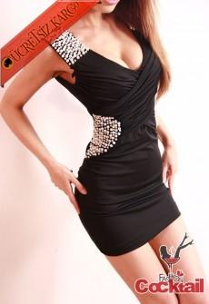 * japon SHINE taşlı drapeli party elbise