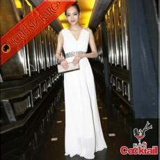 * Taşlı Omuz & Bel Japon Uzun Abiye Elbise Beyaz S M L