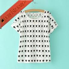 * Geometrik Fileli Bayan T-shirt Beyaz