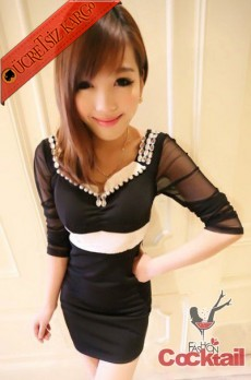 * TAŞ & TÜL japon kışlık party elbise siyah