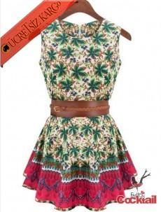 * Amazon Palmiye Japon Kolsuz Elbise