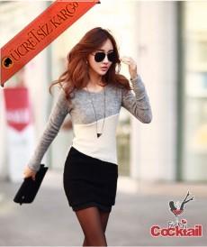 * Asimetrik Renk Yama Japon Genç Elbise Gri