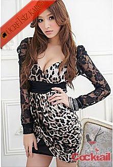 * GÖĞÜS DEKOLTELİ japon leopar dantel kol elbise