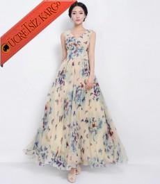 * Korse Bel Japon Çiçekli Şifon Uzun Elbise M L