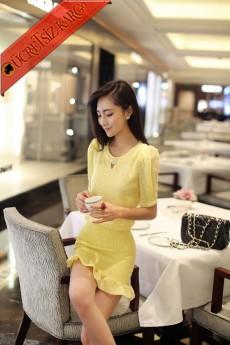 lastik etek japon kısa kol dantel elbise sarı