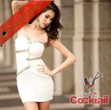 * BURGU & TAŞLI japon straples abiye elbise beyaz