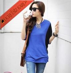 * Dairesel Yarasa Kol Japon Genç Bluz Mavi